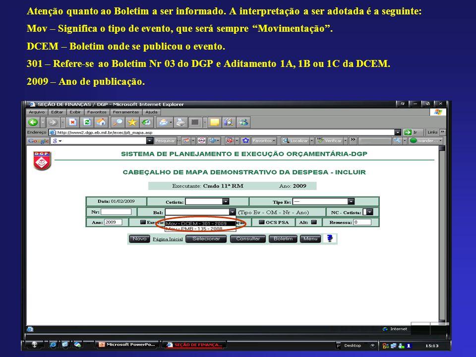 Atenção quanto ao Boletim a ser informado
