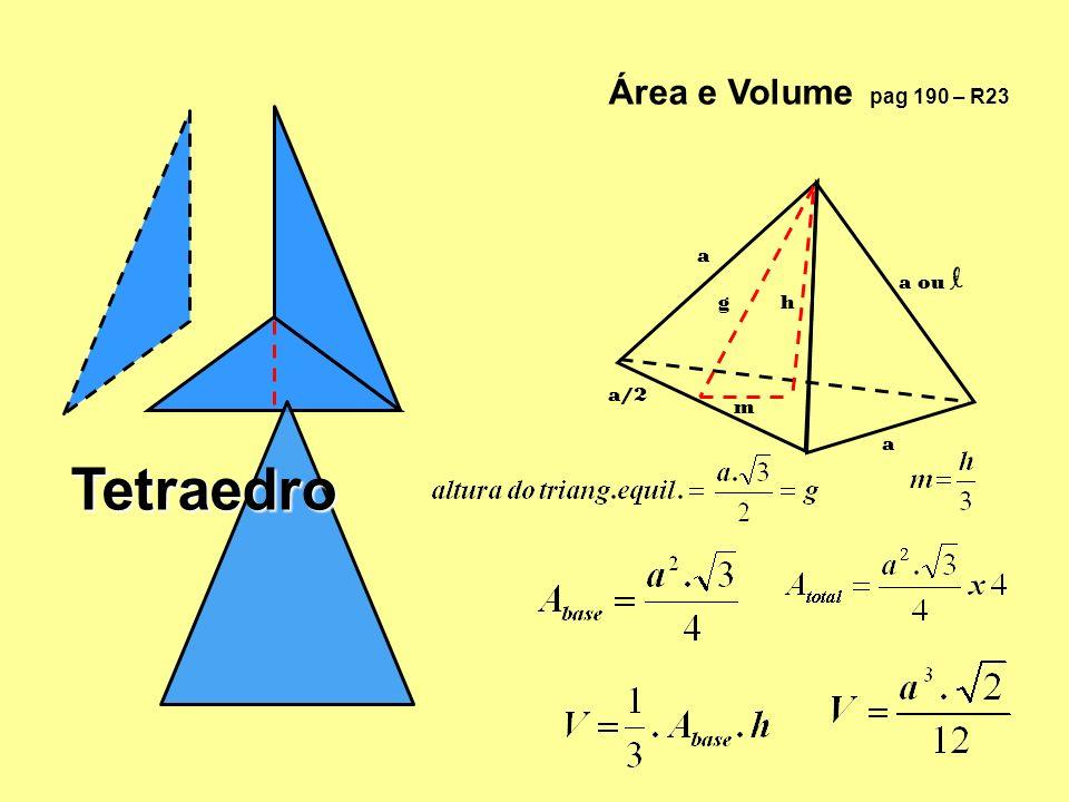 Área e Volume pag 190 – R23 a a ou l g h a/2 m a Tetraedro