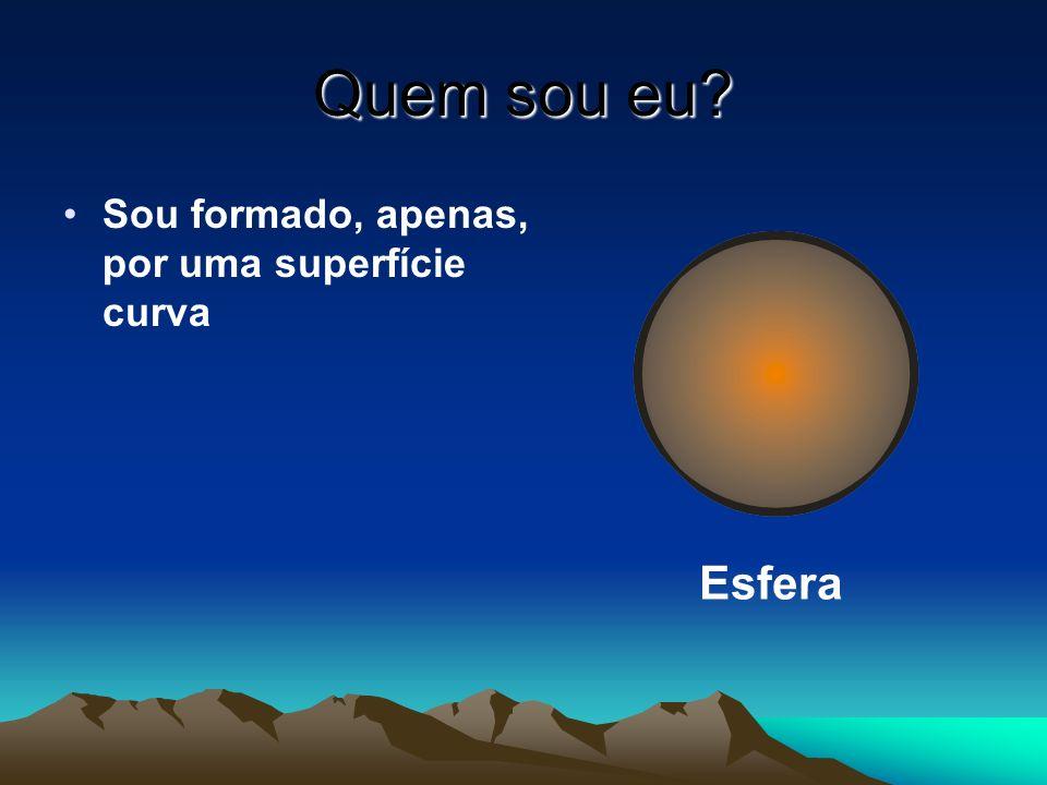 Quem sou eu Sou formado, apenas, por uma superfície curva Esfera