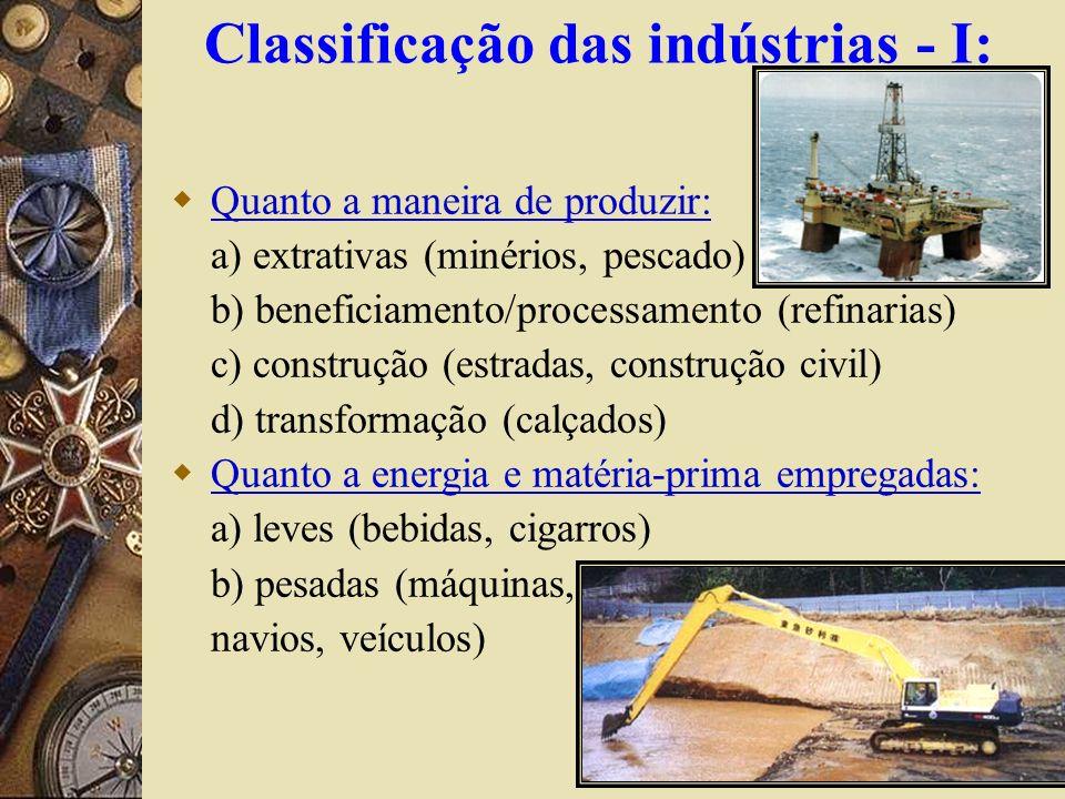 Classificação das indústrias - I:
