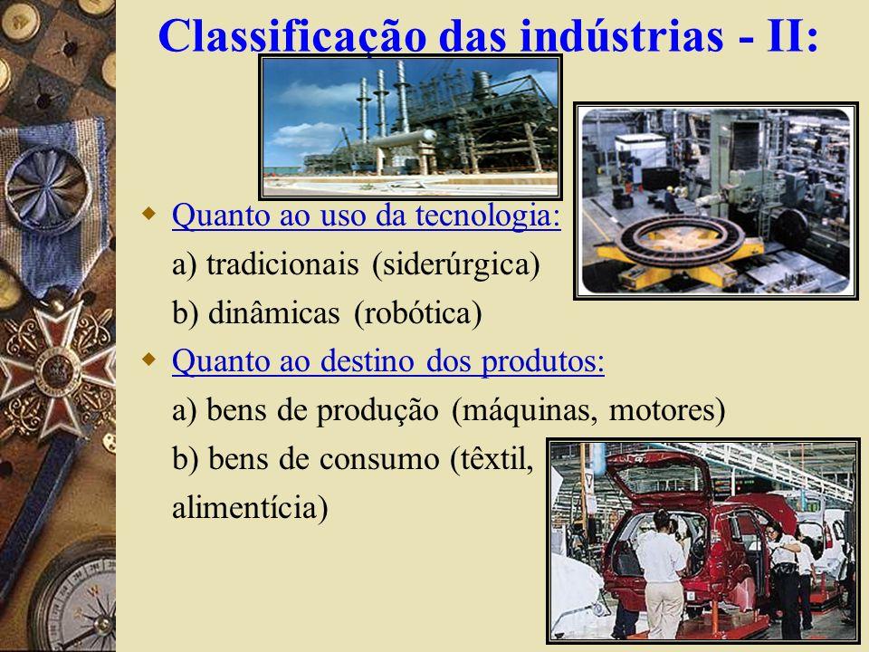 Classificação das indústrias - II: