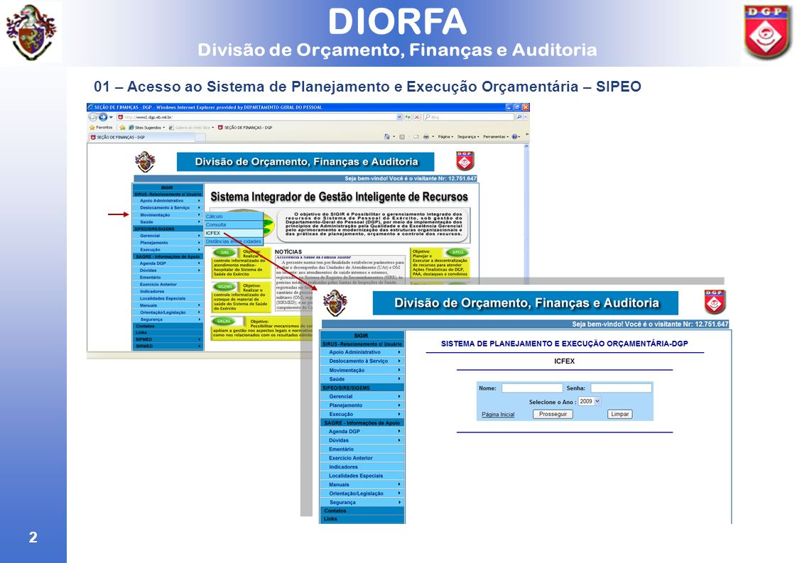 01 – Acesso ao Sistema de Planejamento e Execução Orçamentária – SIPEO