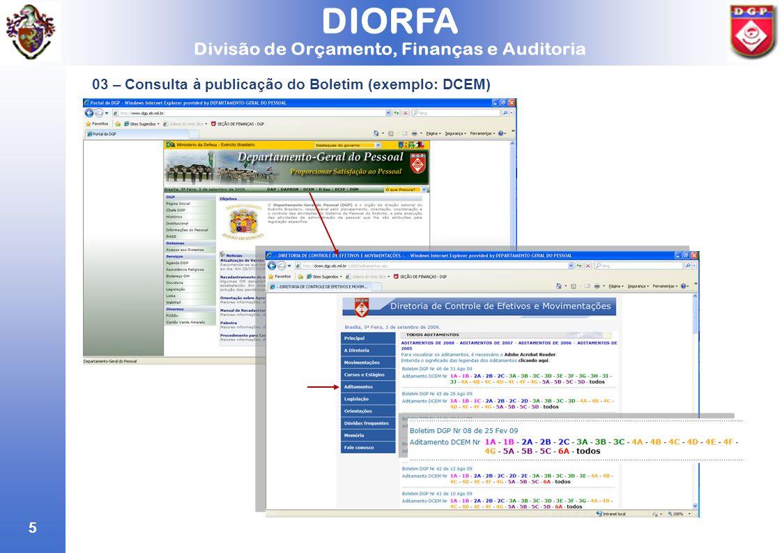 03 – Consulta à publicação do Boletim (exemplo: DCEM)