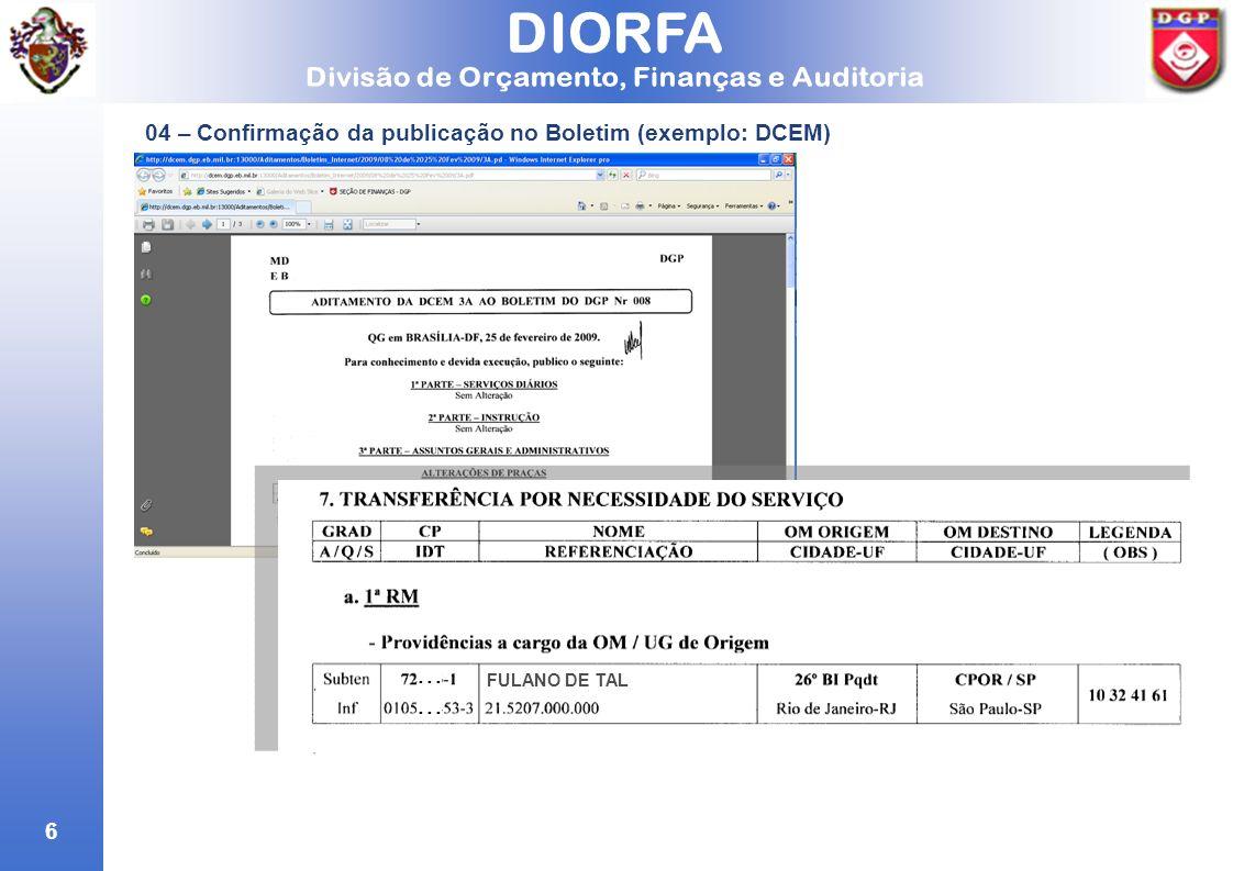 ... 04 – Confirmação da publicação no Boletim (exemplo: DCEM)