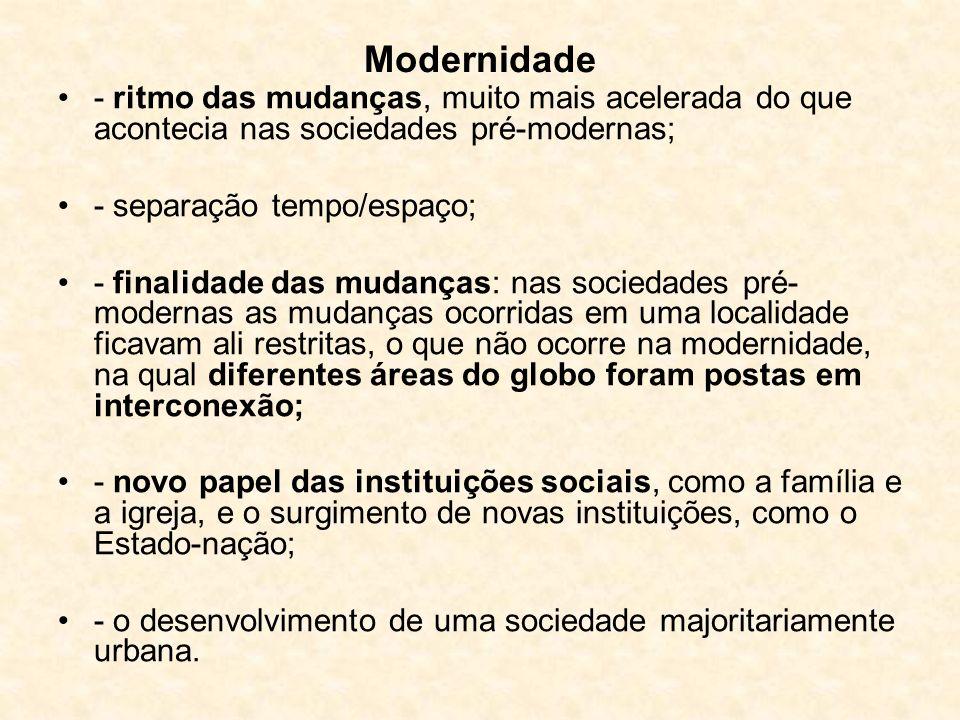 Modernidade - ritmo das mudanças, muito mais acelerada do que acontecia nas sociedades pré-modernas;