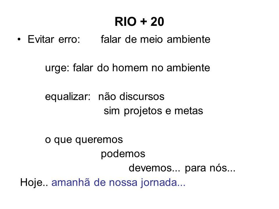 RIO + 20 Evitar erro: falar de meio ambiente