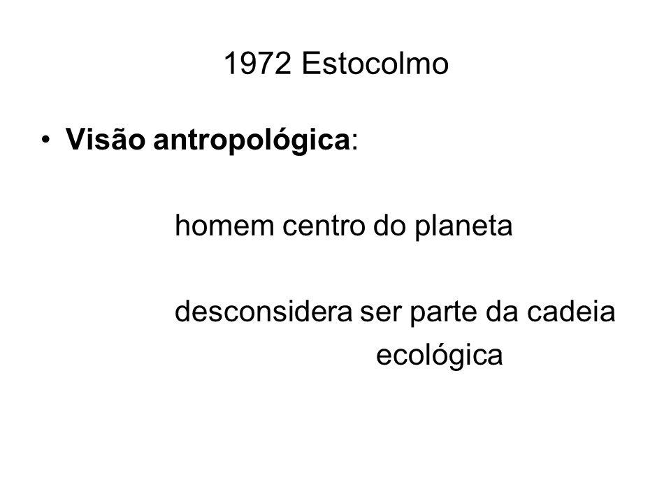 1972 Estocolmo Visão antropológica: homem centro do planeta