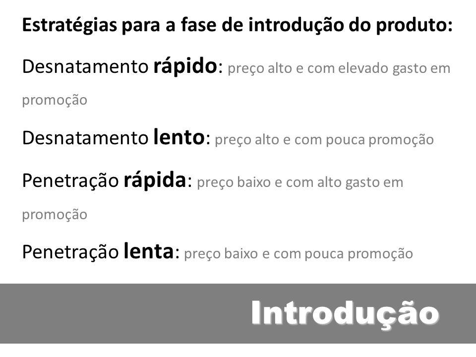 Introdução Estratégias para a fase de introdução do produto: