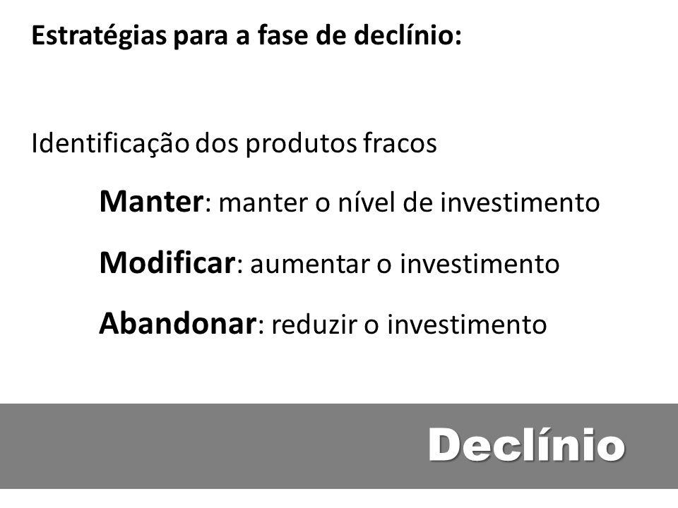 Declínio Manter: manter o nível de investimento
