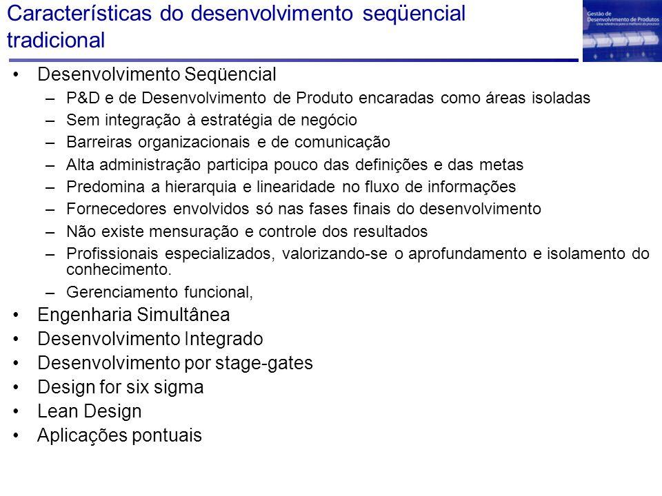 Características do desenvolvimento seqüencial tradicional