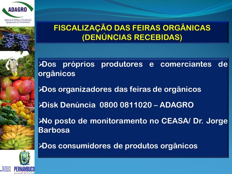 FISCALIZAÇÃO DAS FEIRAS ORGÂNICAS (DENÚNCIAS RECEBIDAS)