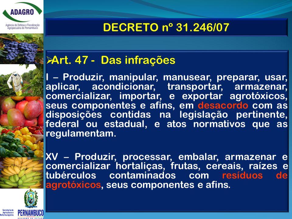 DECRETO nº 31.246/07 Art. 47 - Das infrações