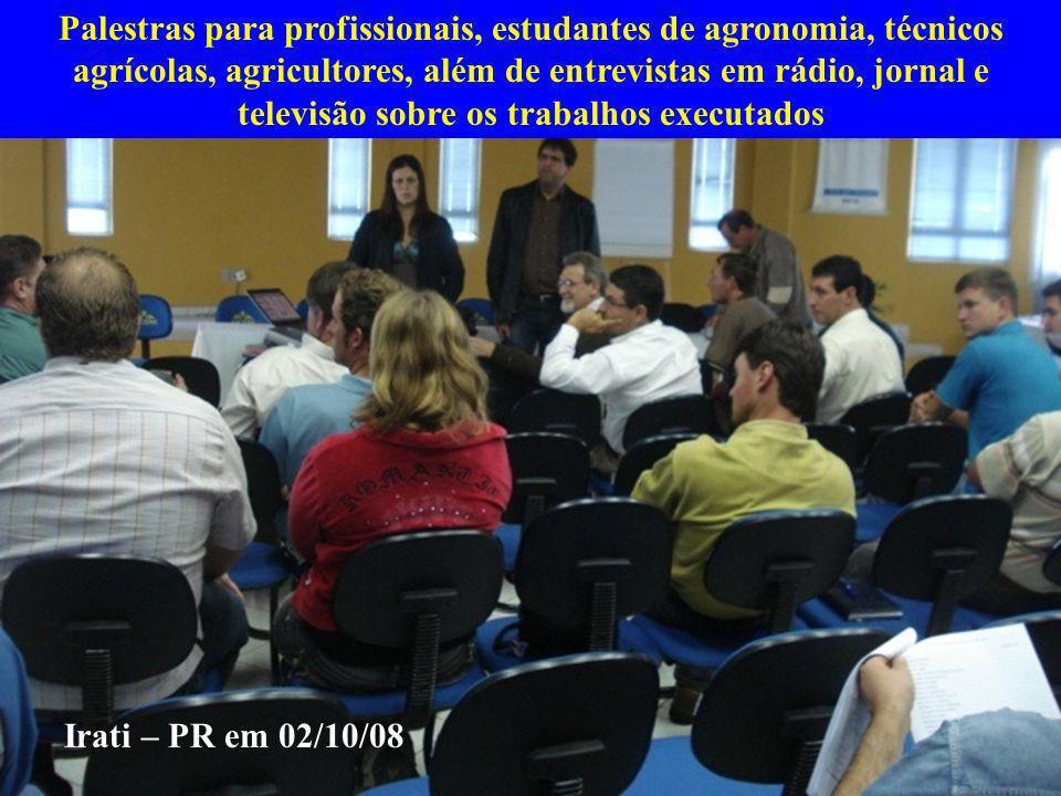 Palestras para profissionais, estudantes de agronomia, técnicos agrícolas, agricultores, além de entrevistas em rádio, jornal e televisão sobre os trabalhos executados