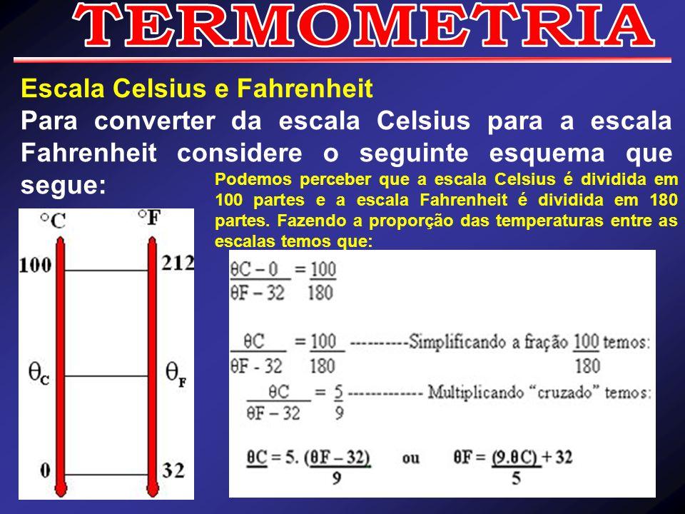 TERMOMETRIA Escala Celsius e Fahrenheit