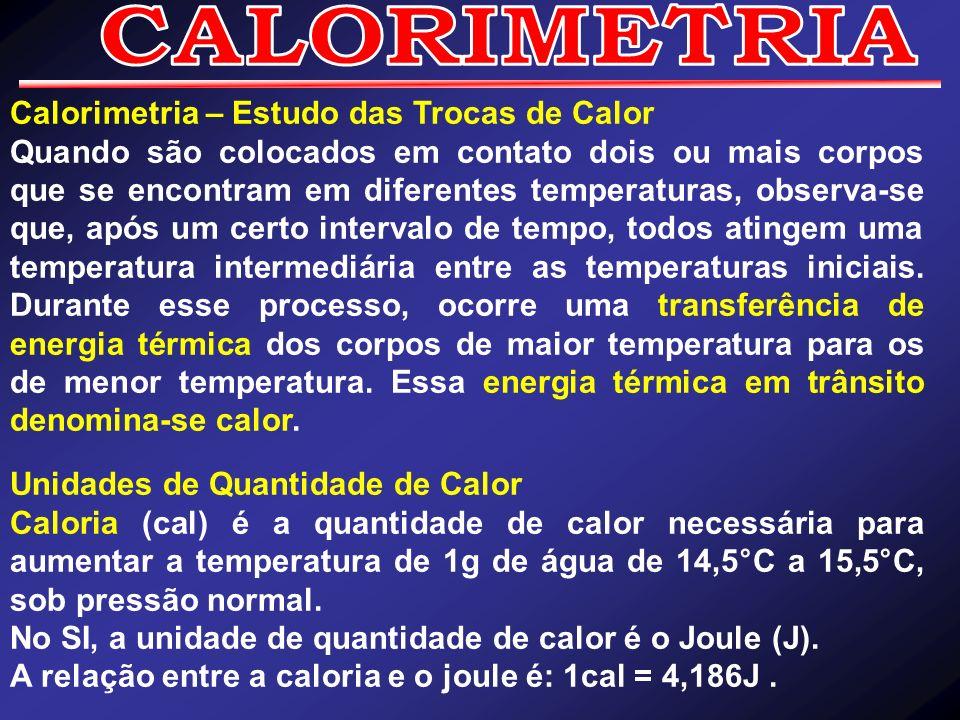 CALORIMETRIA Calorimetria – Estudo das Trocas de Calor