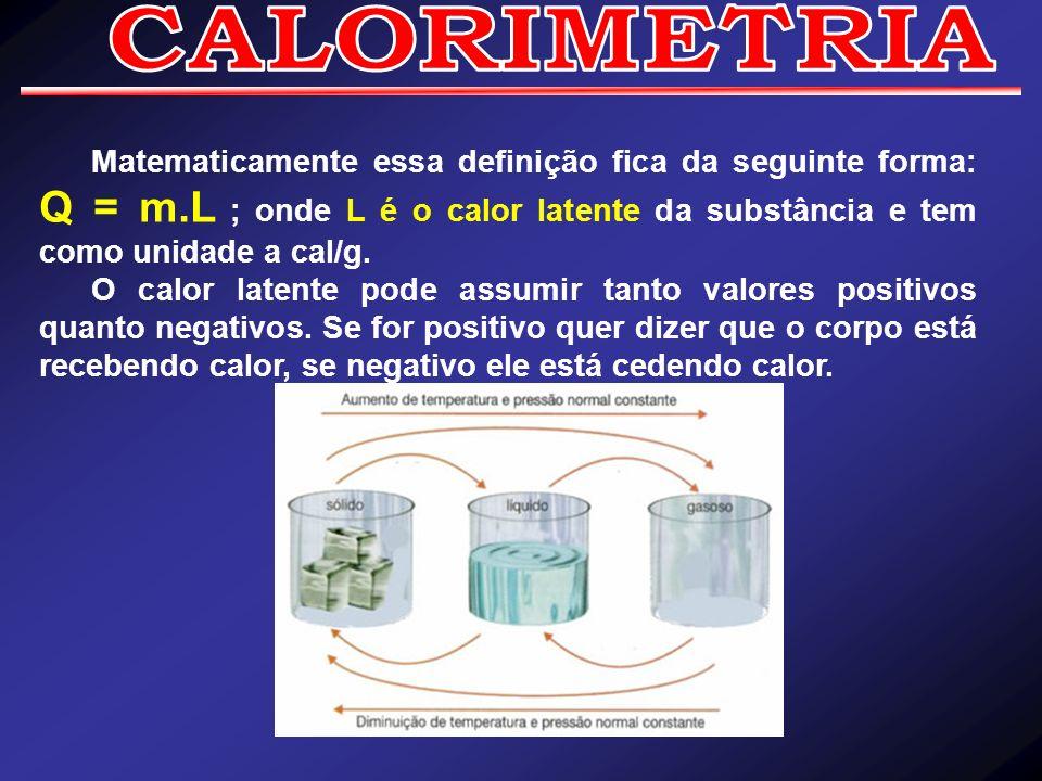 CALORIMETRIAMatematicamente essa definição fica da seguinte forma: Q = m.L ; onde L é o calor latente da substância e tem como unidade a cal/g.
