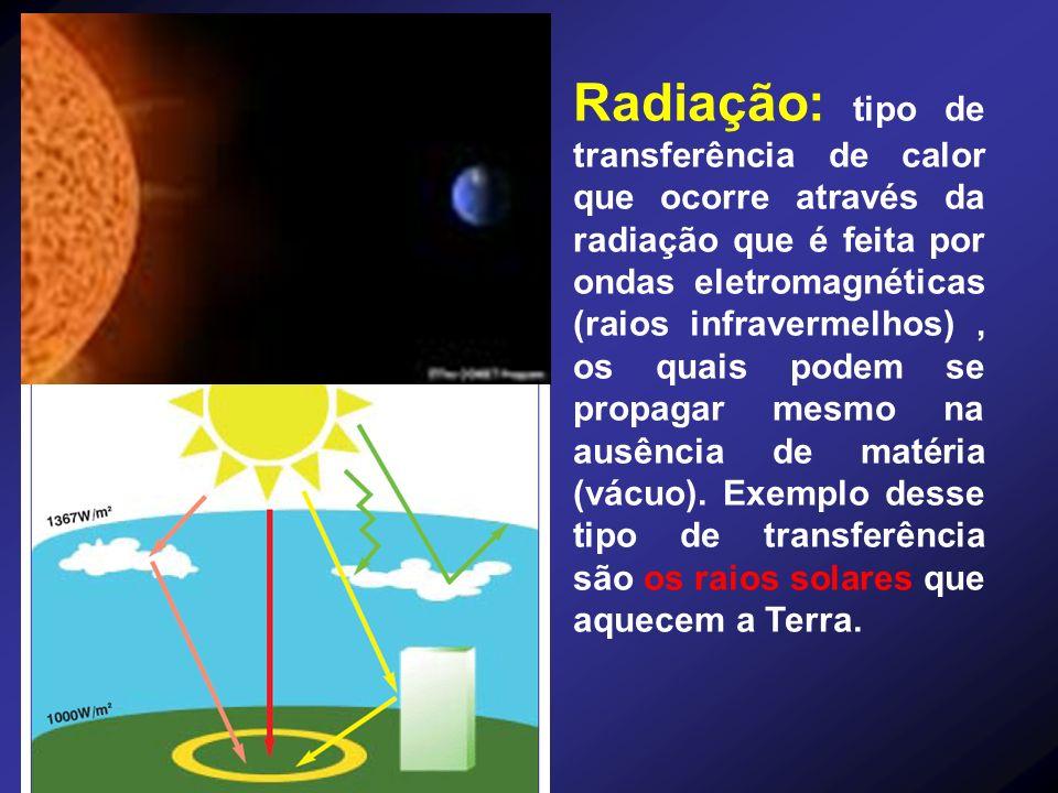 Radiação: tipo de transferência de calor que ocorre através da radiação que é feita por ondas eletromagnéticas (raios infravermelhos) , os quais podem se propagar mesmo na ausência de matéria (vácuo).