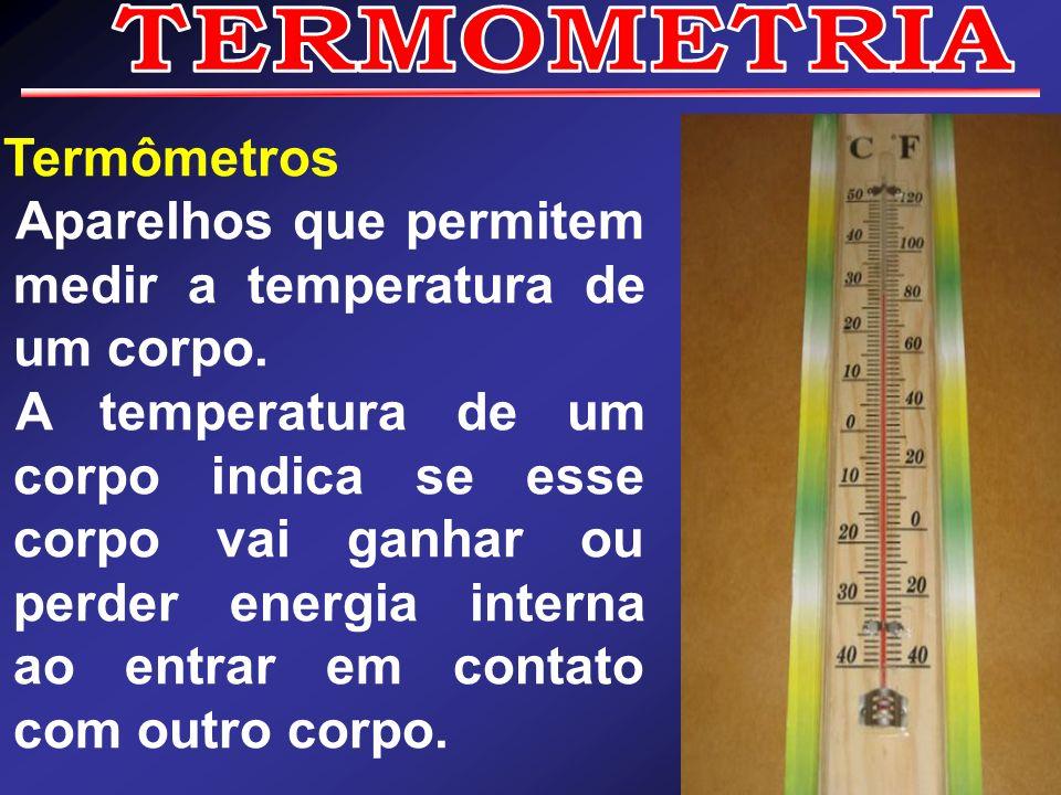 TERMOMETRIA Termômetros. Aparelhos que permitem medir a temperatura de um corpo.