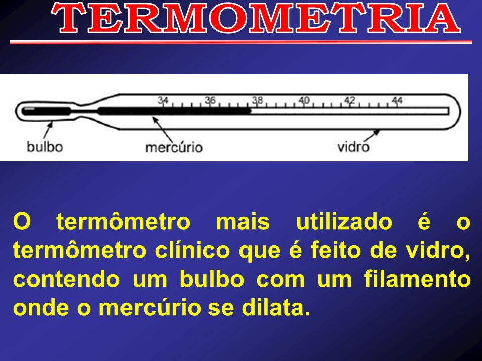 TERMOMETRIA O termômetro mais utilizado é o termômetro clínico que é feito de vidro, contendo um bulbo com um filamento onde o mercúrio se dilata.