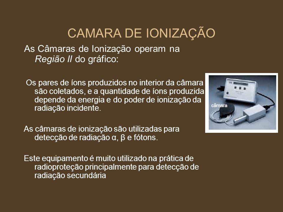 CAMARA DE IONIZAÇÃO As Câmaras de Ionização operam na Região II do gráfico: