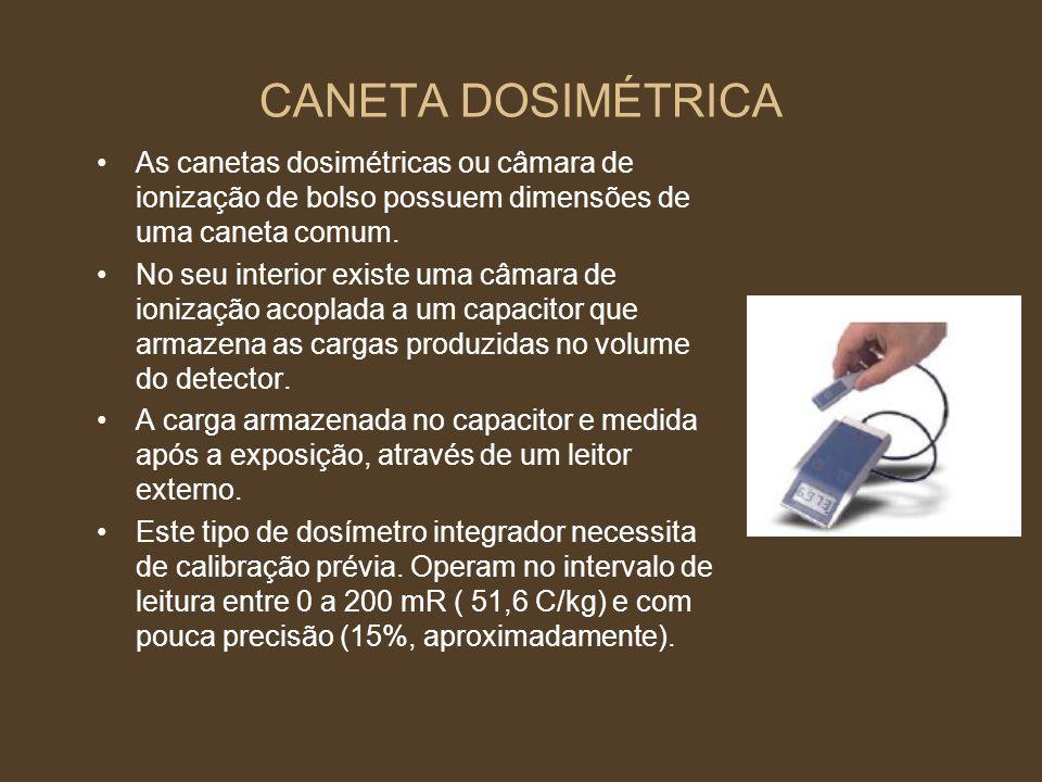 CANETA DOSIMÉTRICA As canetas dosimétricas ou câmara de ionização de bolso possuem dimensões de uma caneta comum.