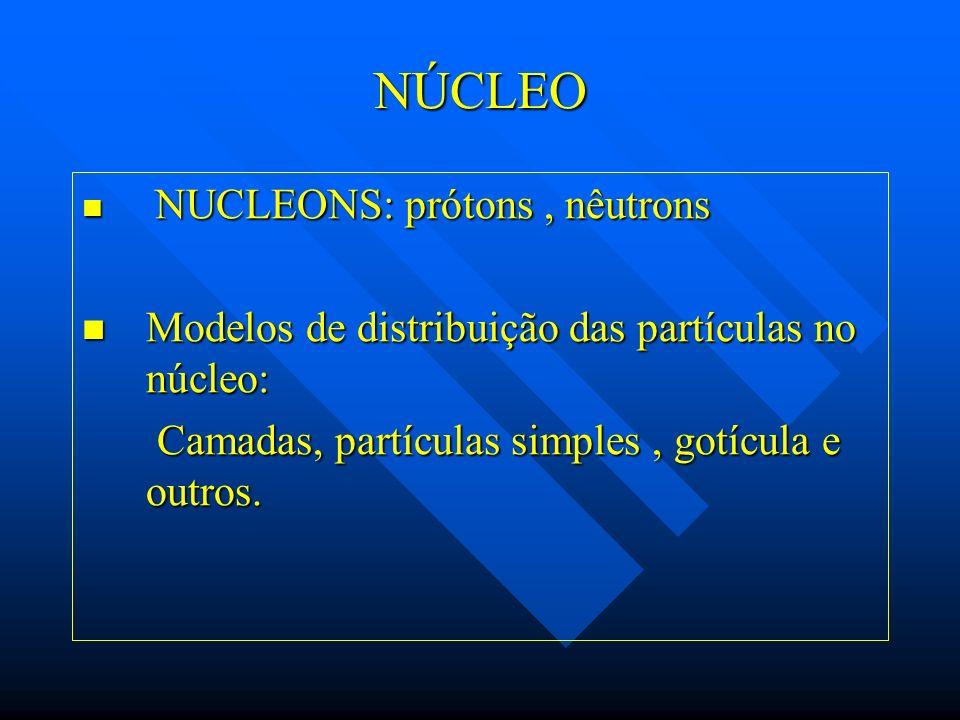 NÚCLEO Modelos de distribuição das partículas no núcleo: