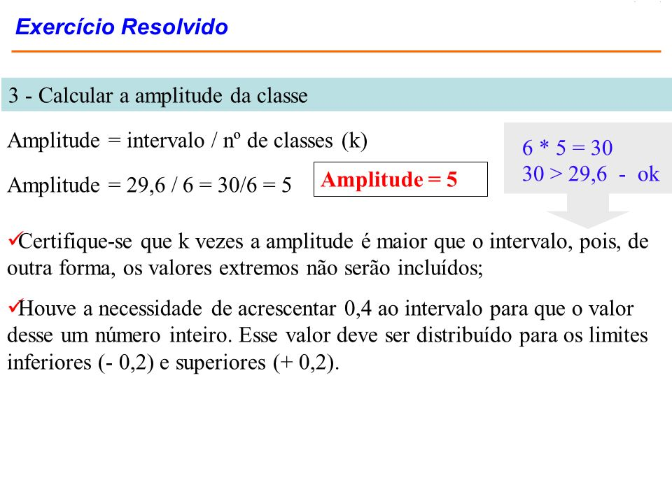 Exercício Resolvido 3 - Calcular a amplitude da classe. Amplitude = intervalo / nº de classes (k) 6 * 5 = 30.