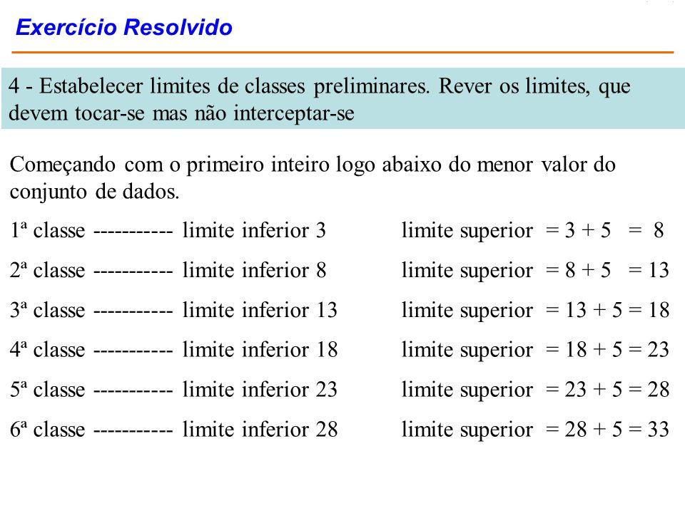 Exercício Resolvido 4 - Estabelecer limites de classes preliminares. Rever os limites, que devem tocar-se mas não interceptar-se.
