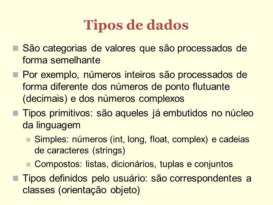 Tipos de dadosSão categorias de valores que são processados de forma semelhante.