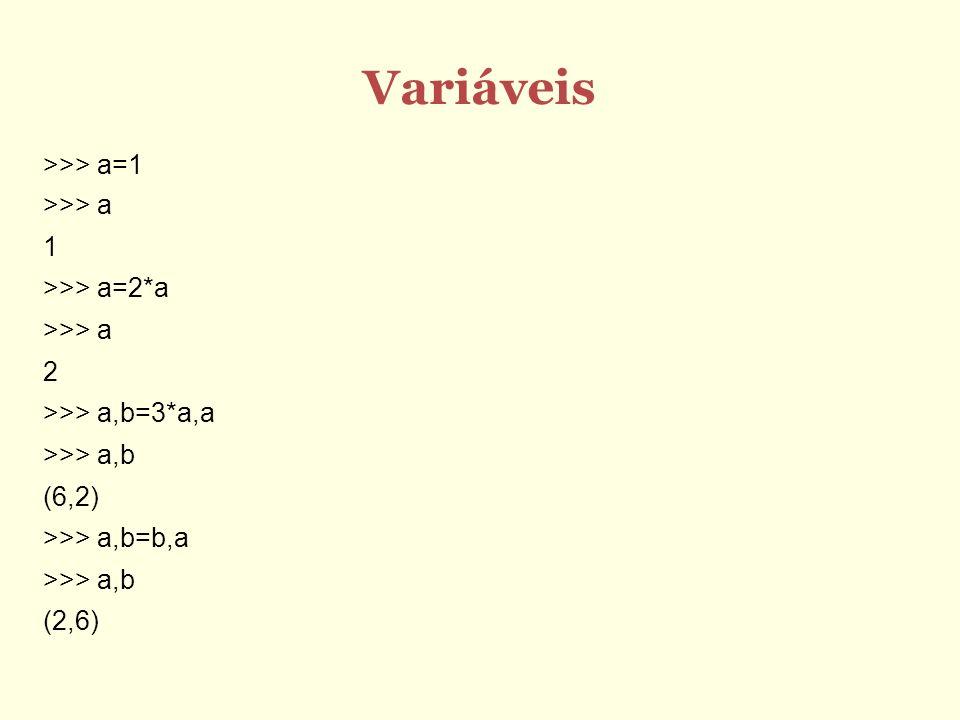 Variáveis >>> a=1 >>> a 1 >>> a=2*a 2