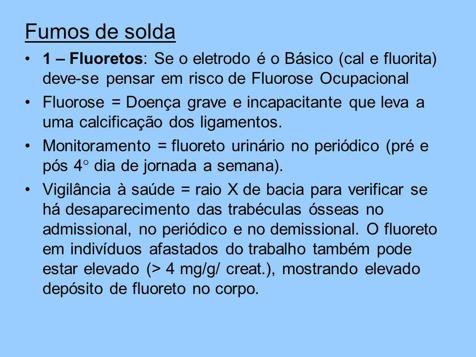 Fumos de solda1 – Fluoretos: Se o eletrodo é o Básico (cal e fluorita) deve-se pensar em risco de Fluorose Ocupacional.