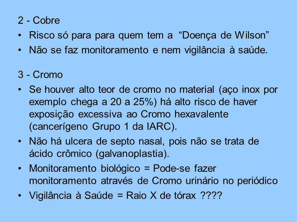 2 - Cobre Risco só para para quem tem a Doença de Wilson Não se faz monitoramento e nem vigilância à saúde.
