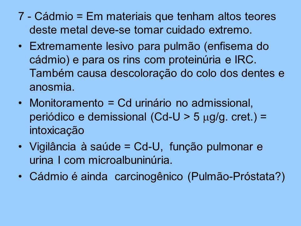 7 - Cádmio = Em materiais que tenham altos teores deste metal deve-se tomar cuidado extremo.