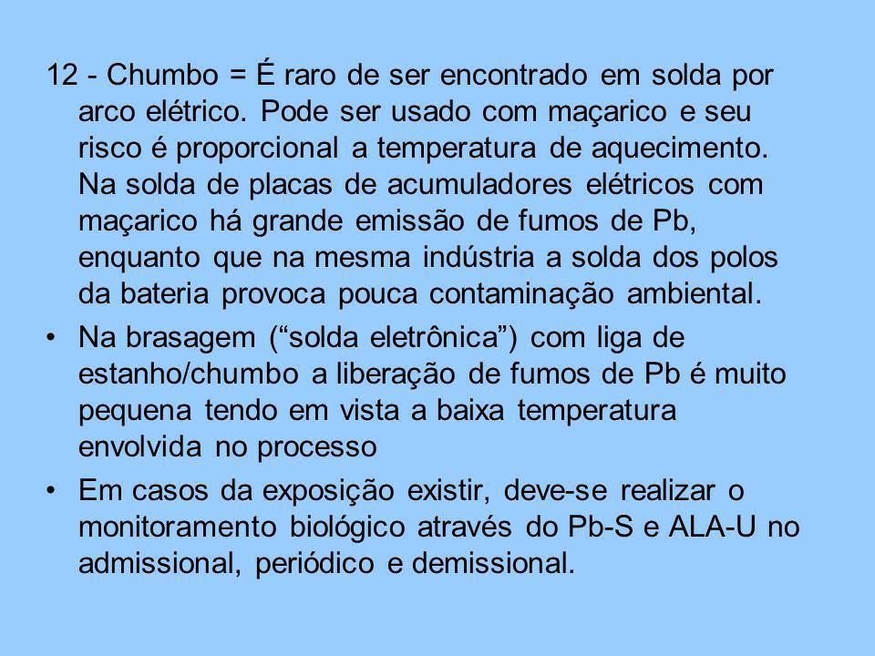 12 - Chumbo = É raro de ser encontrado em solda por arco elétrico