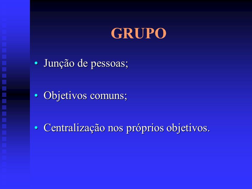 GRUPO Junção de pessoas; Objetivos comuns;