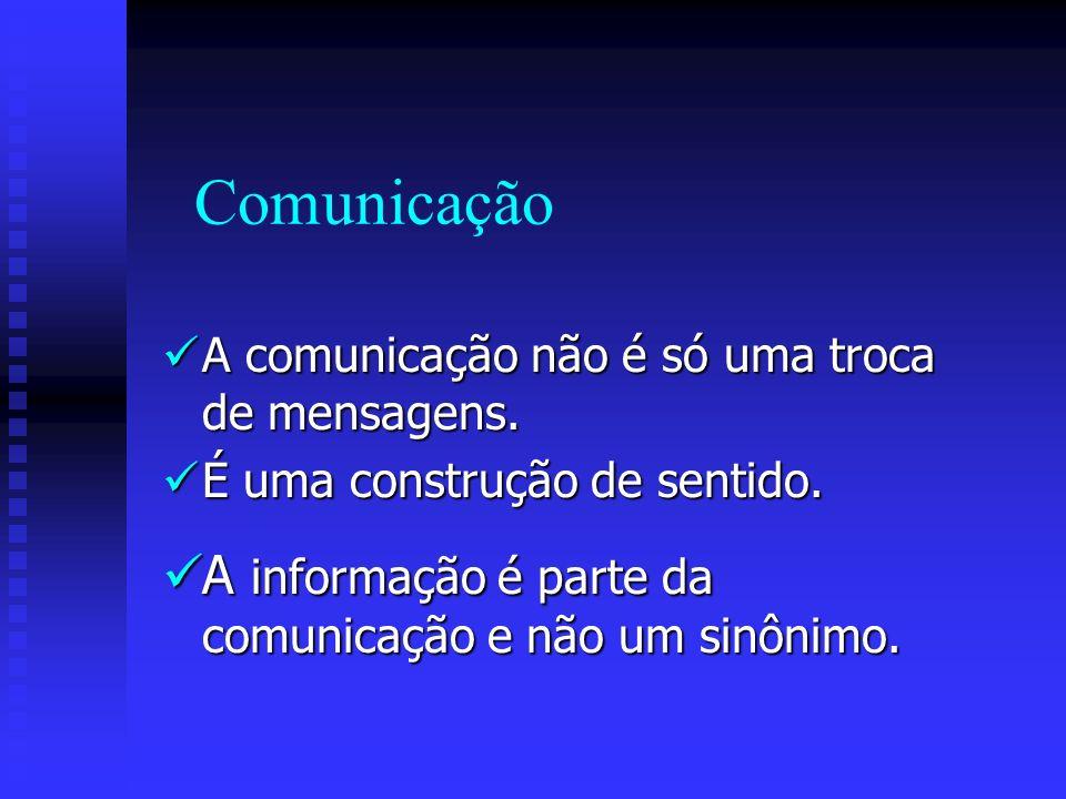 Comunicação A informação é parte da comunicação e não um sinônimo.