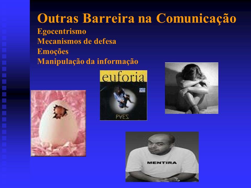 Outras Barreira na Comunicação Egocentrismo Mecanismos de defesa Emoções Manipulação da informação