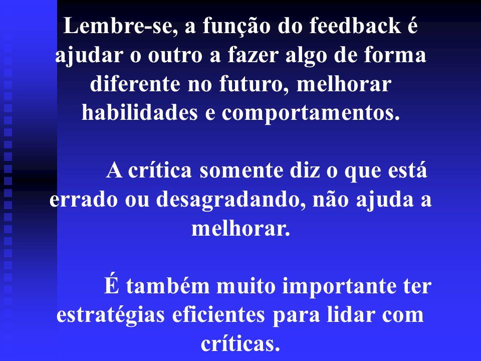 Lembre-se, a função do feedback é ajudar o outro a fazer algo de forma diferente no futuro, melhorar habilidades e comportamentos.