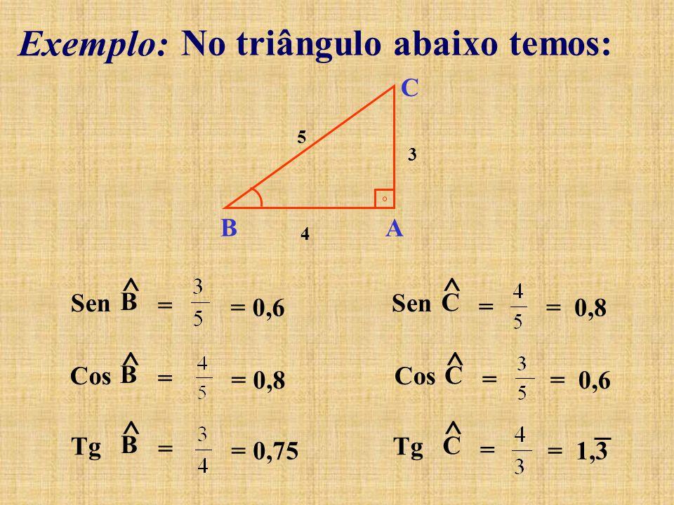 No triângulo abaixo temos:
