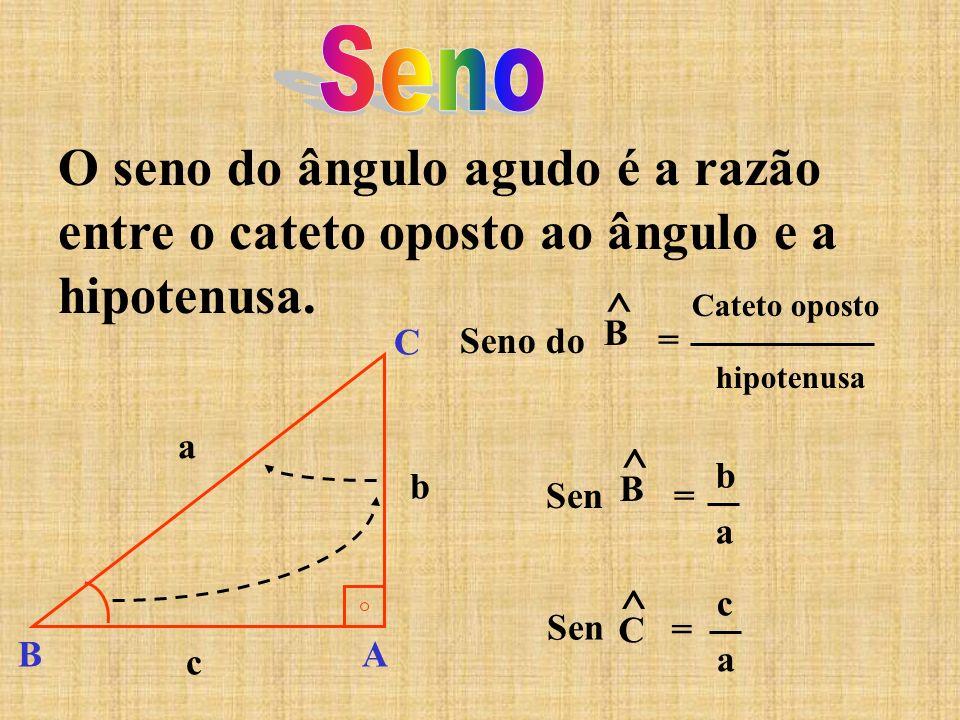Seno O seno do ângulo agudo é a razão entre o cateto oposto ao ângulo e a hipotenusa. Seno do. ^ B.