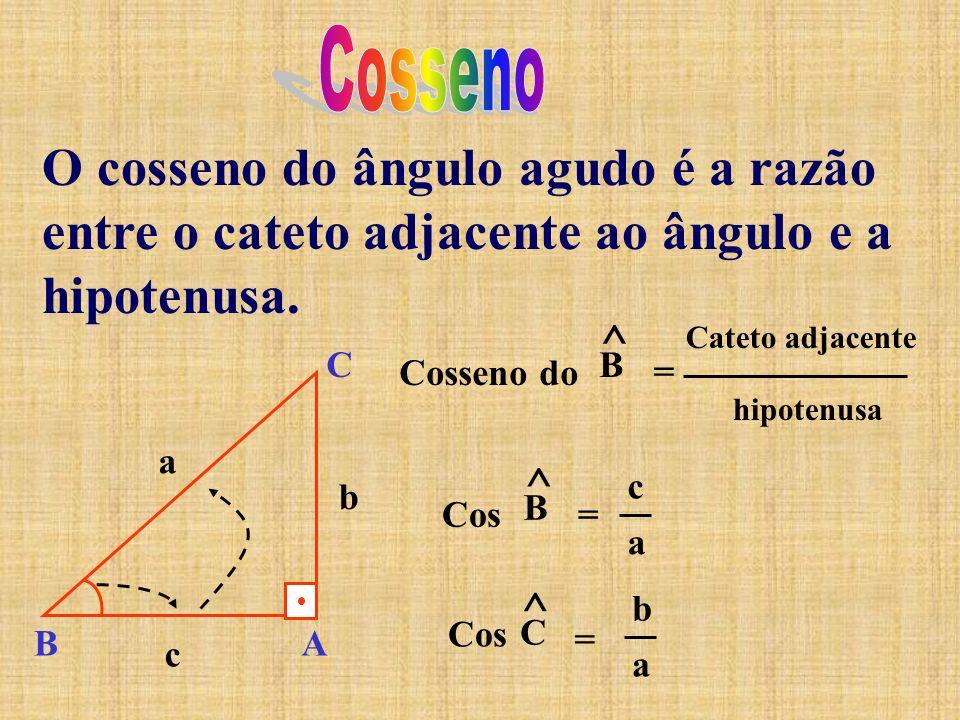 Cosseno O cosseno do ângulo agudo é a razão entre o cateto adjacente ao ângulo e a hipotenusa. Cosseno do.
