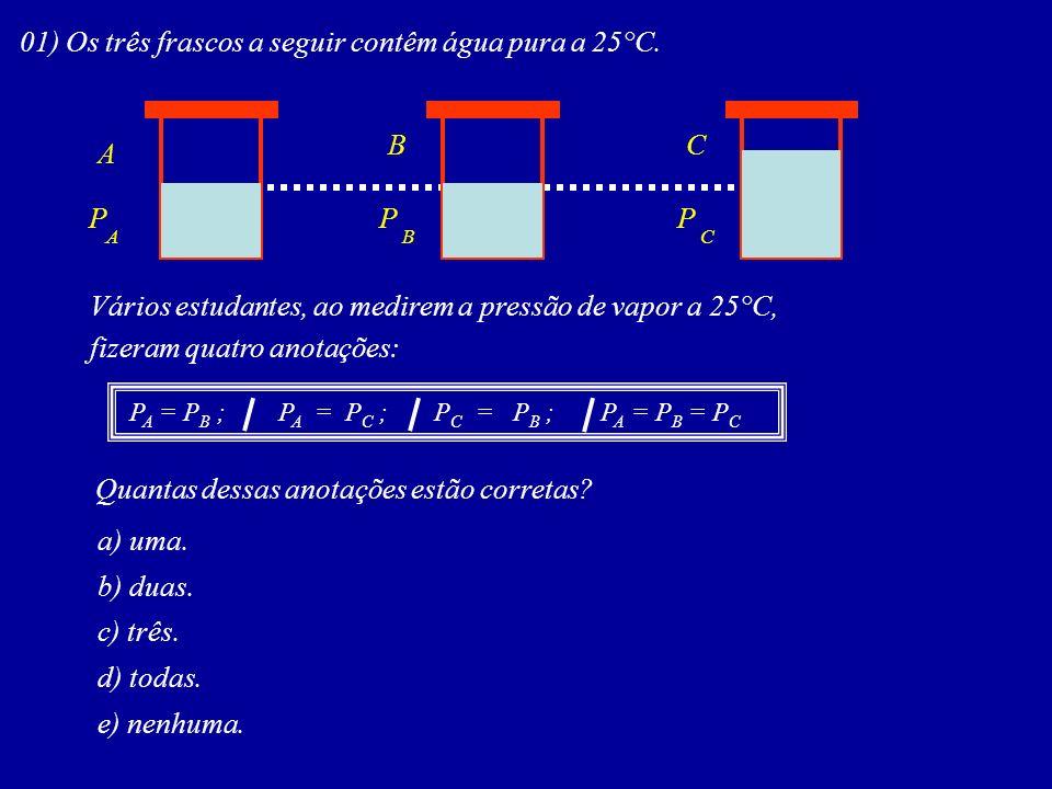 01) Os três frascos a seguir contêm água pura a 25°C.