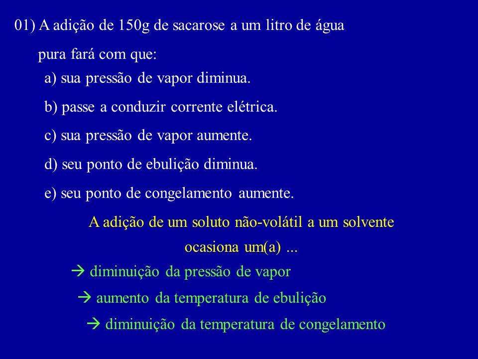 01) A adição de 150g de sacarose a um litro de água pura fará com que: