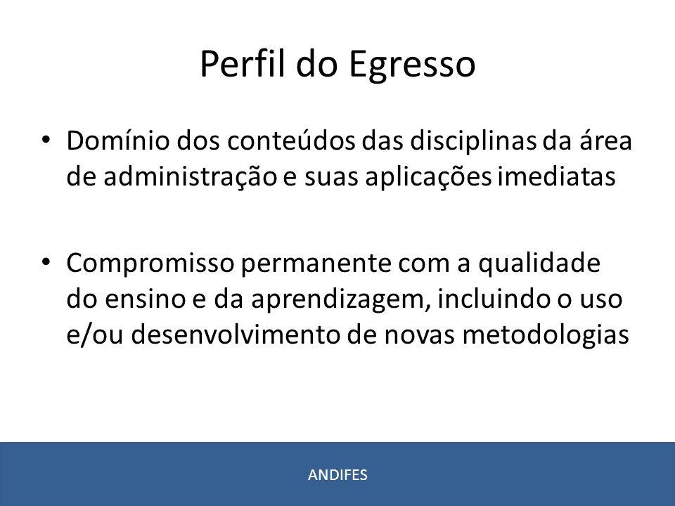Perfil do Egresso Domínio dos conteúdos das disciplinas da área de administração e suas aplicações imediatas.