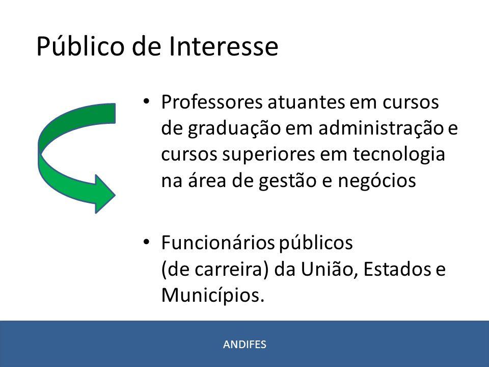 Público de Interesse Professores atuantes em cursos de graduação em administração e cursos superiores em tecnologia na área de gestão e negócios.