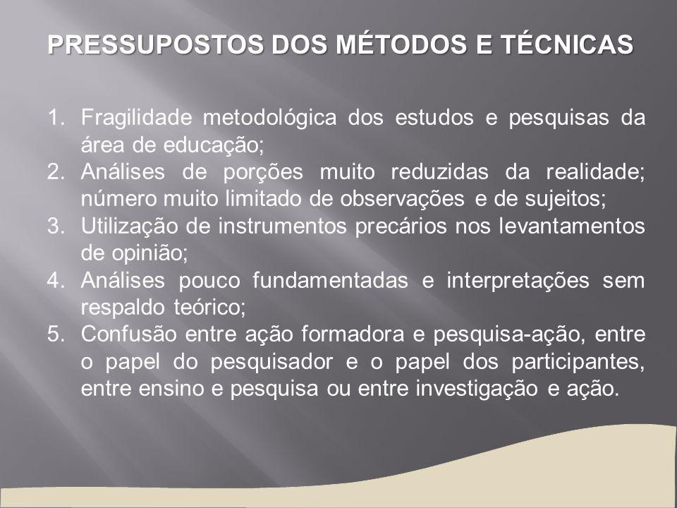 PRESSUPOSTOS DOS MÉTODOS E TÉCNICAS