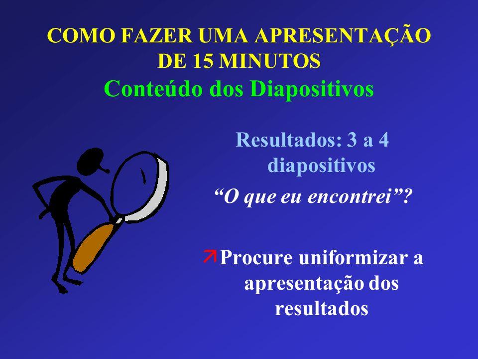 COMO FAZER UMA APRESENTAÇÃO DE 15 MINUTOS Conteúdo dos Diapositivos
