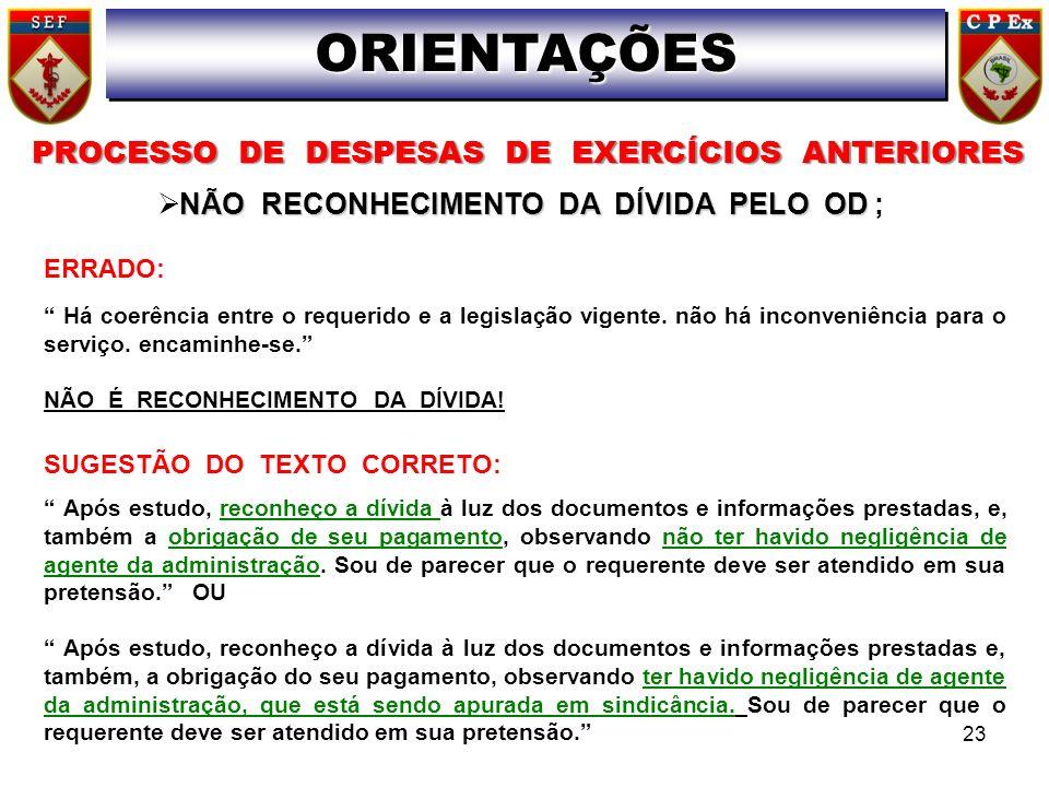 PROCESSO DE DESPESAS DE EXERCÍCIOS ANTERIORES