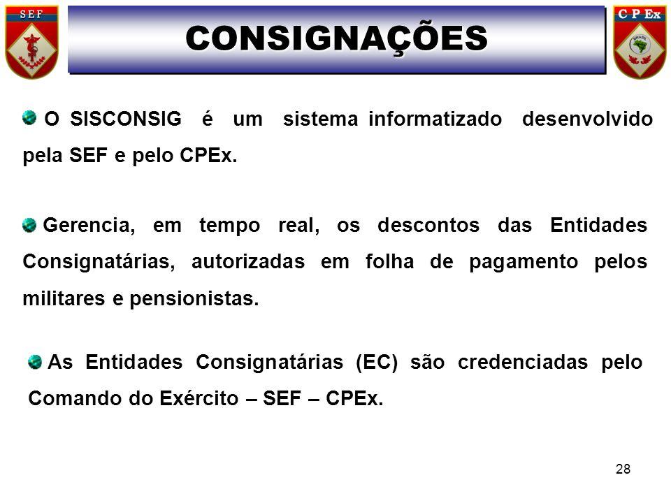 CONSIGNAÇÕESO SISCONSIG é um sistema informatizado desenvolvido pela SEF e pelo CPEx.