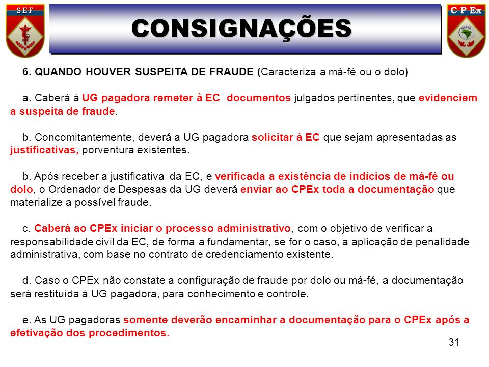 CONSIGNAÇÕES6. QUANDO HOUVER SUSPEITA DE FRAUDE (Caracteriza a má-fé ou o dolo)